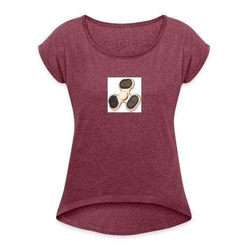 Robiear Clover Fidget Spinner - Women's Roll Cuff T-Shirt