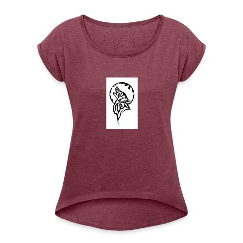 dark wolf - Women's Roll Cuff T-Shirt