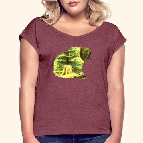 Bear isolated in the woods - Women's Roll Cuff T-Shirt