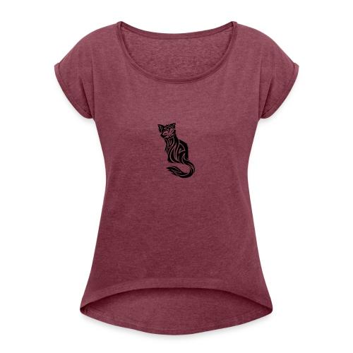 elegant-cat-with-bird-tattoo-design-5 - Women's Roll Cuff T-Shirt