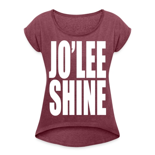 JO'LEE SHINE WOMEN'S T SHIRT WHT/PNK - Women's Roll Cuff T-Shirt