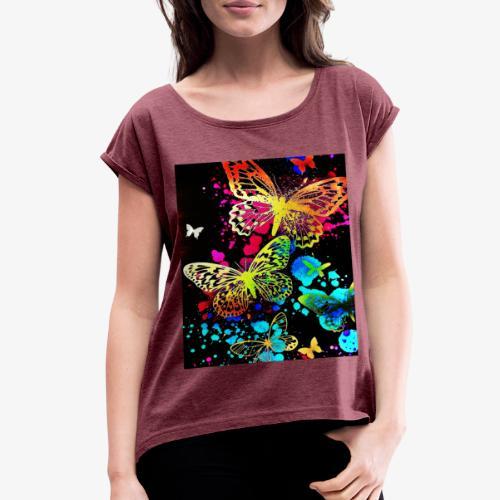 Butterflies - Women's Roll Cuff T-Shirt