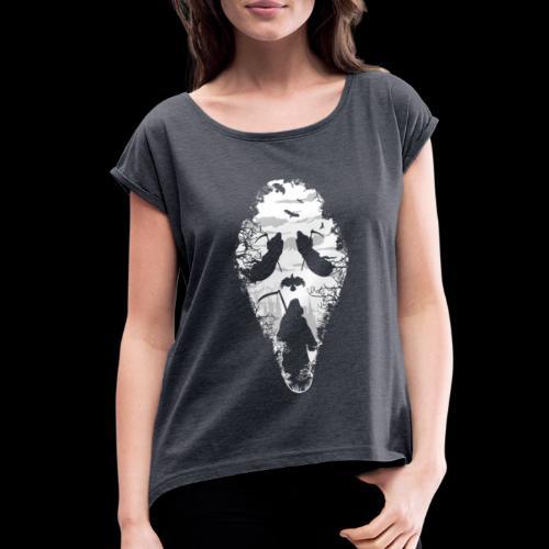 Reaper Screams | Scary Halloween - Women's Roll Cuff T-Shirt