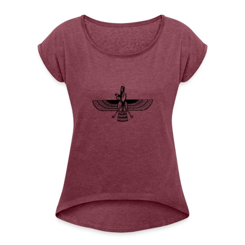 Arya Nima1 Emblem - Women's Roll Cuff T-Shirt
