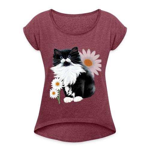 Little Tux Kitten-Daisy - Women's Roll Cuff T-Shirt