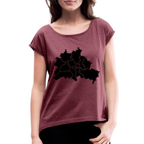 Berlin map, districts - Women's Roll Cuff T-Shirt
