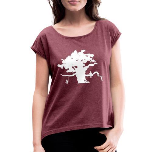 Oak Tree with children playing - Women's Roll Cuff T-Shirt