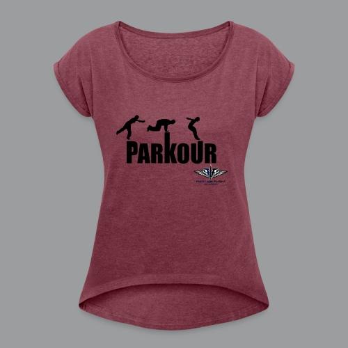 Parkour Text Kong Precision - Women's Roll Cuff T-Shirt