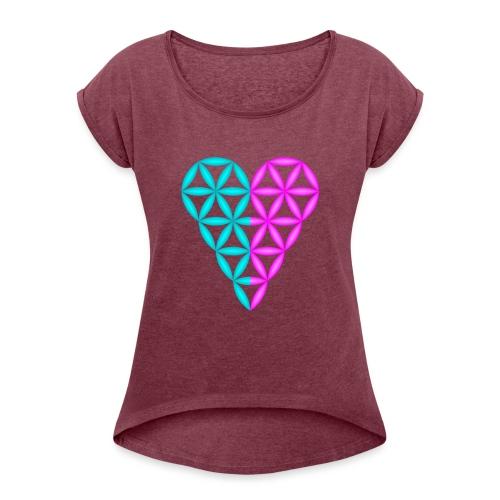 Dual Heart - Heart of Life - 3D. - Women's Roll Cuff T-Shirt