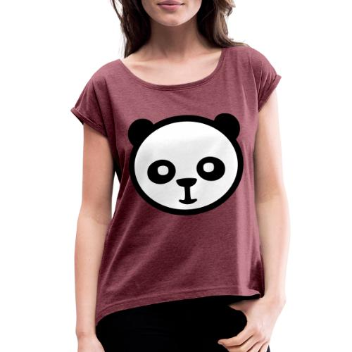 Panda bear, Big panda, Giant panda, Bamboo bear - Women's Roll Cuff T-Shirt