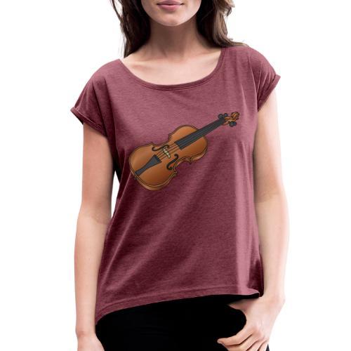 Violin, fiddle - Women's Roll Cuff T-Shirt