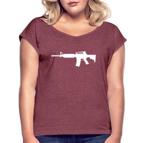 AR-15 Rifle Silhouette - Women's Roll Cuff T-Shirt