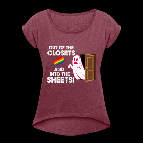 Out of the Closets Pride Ghost - Women's Roll Cuff T-Shirt
