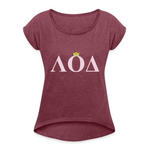 Crown Pink Letters - Women's Roll Cuff T-Shirt