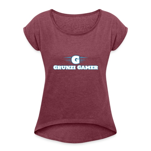 logo and channel name - Women's Roll Cuff T-Shirt