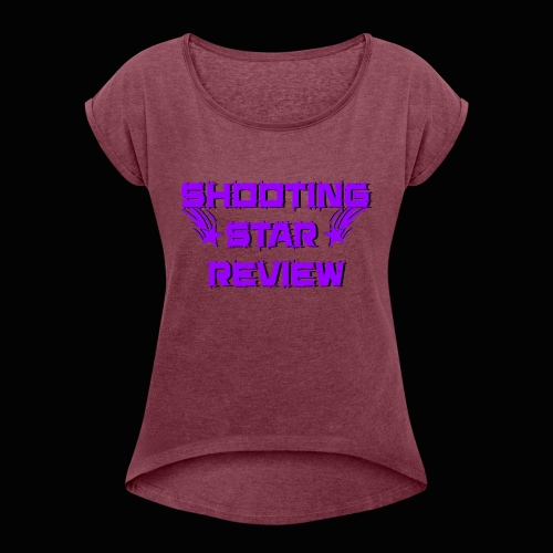 Shooting Star Review Purple Logo - Women's Roll Cuff T-Shirt