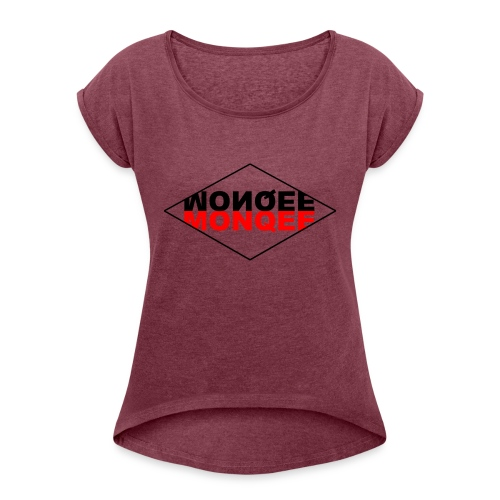 BLACK AND RED - Women's Roll Cuff T-Shirt