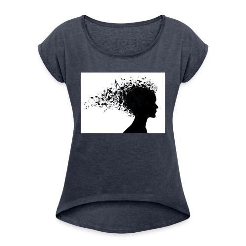 music through my head - Women's Roll Cuff T-Shirt