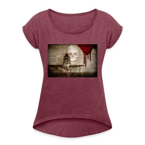 sad girl - Women's Roll Cuff T-Shirt