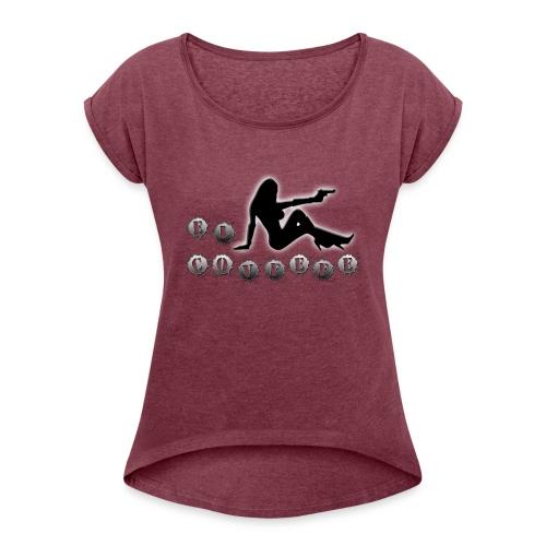 El Covfefe Bad Ass Chick in Gun Metal - Women's Roll Cuff T-Shirt