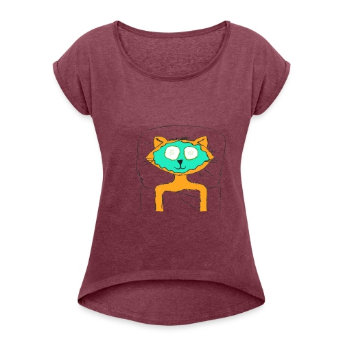 Spa Cat - Women's Roll Cuff T-Shirt
