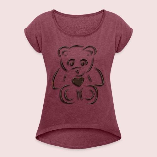realistic teddy - Women's Roll Cuff T-Shirt