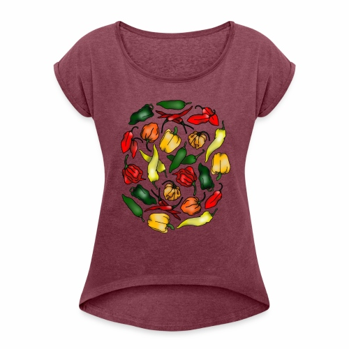Chili Peppers - Women's Roll Cuff T-Shirt