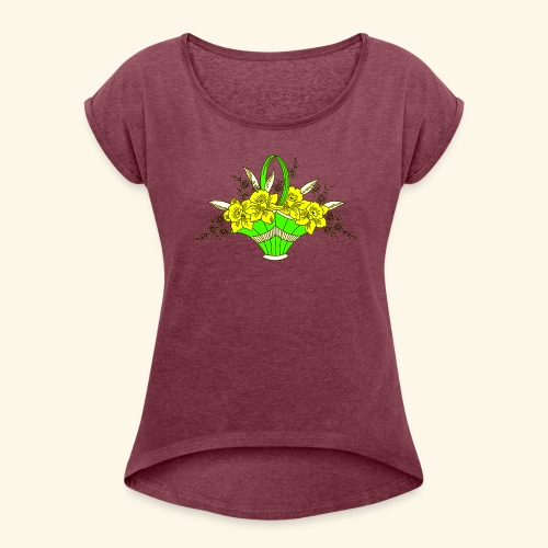 Daffodils Poster - Women's Roll Cuff T-Shirt