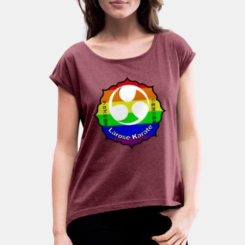 Larose Karate Rainbow Logo - Women's Roll Cuff T-Shirt