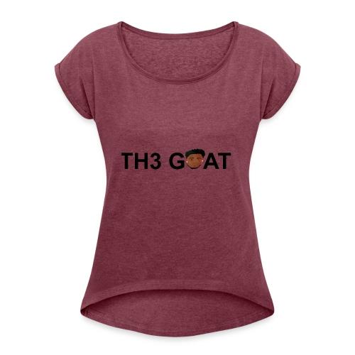 The goat cartoon - Women's Roll Cuff T-Shirt