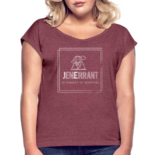 White JenErrant Logo-No Background! - Women's Roll Cuff T-Shirt