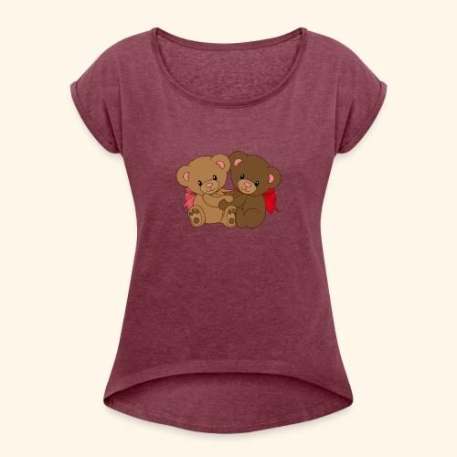 Bears Hugging - Women's Roll Cuff T-Shirt