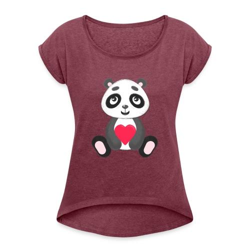 Sweetheart Panda - Women's Roll Cuff T-Shirt