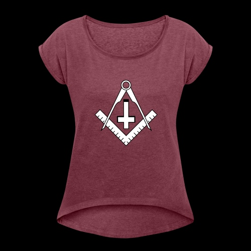 FreemasonCrossBlack - Women's Roll Cuff T-Shirt