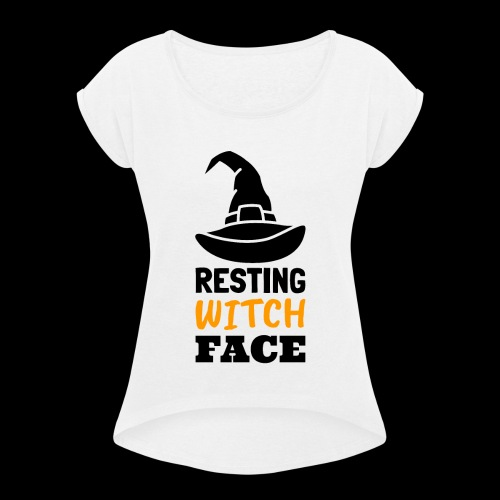 Resting Witch Face | Funny Halloween - Women's Roll Cuff T-Shirt