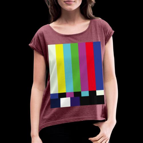 This is a TV Test | Retro Television Broadcast - Women's Roll Cuff T-Shirt
