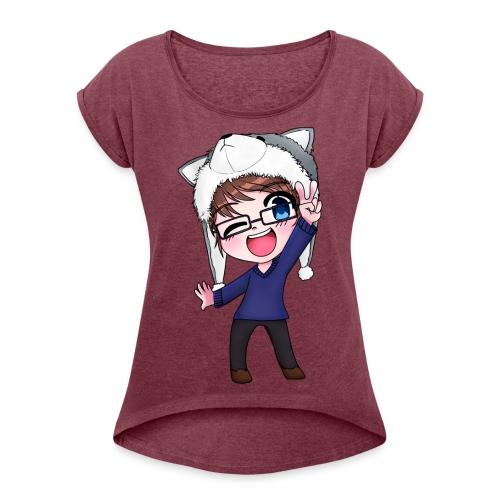 Aromi-Kun! OFFICIAL Logo - Women's Roll Cuff T-Shirt