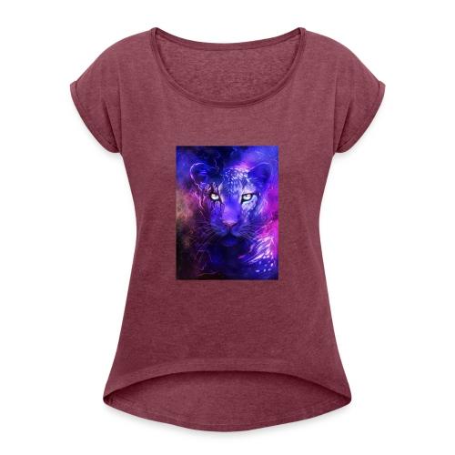 glowing leopard - Women's Roll Cuff T-Shirt