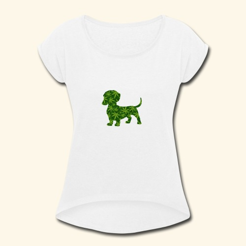 PUFFY DOG - PRESENT FOR SMOKING DOGLOVER - Women's Roll Cuff T-Shirt