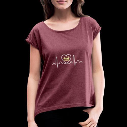 House Music Pulse! - Women's Roll Cuff T-Shirt