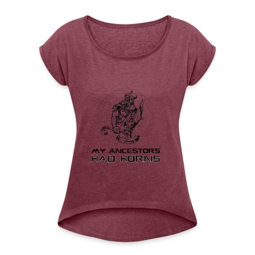 horned helmet tshirt design 2 - Women's Roll Cuff T-Shirt