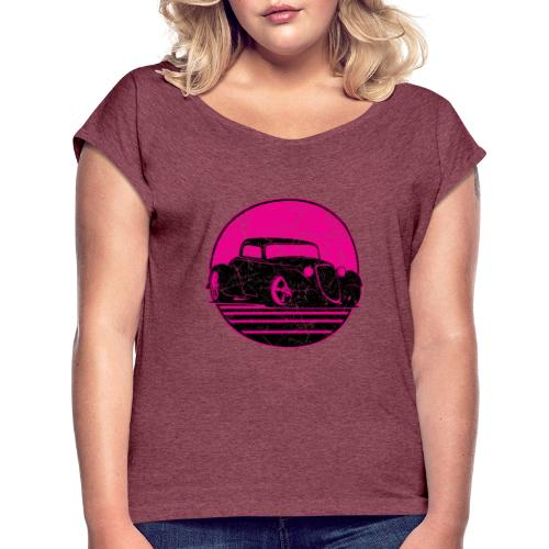 Retro Hot Pink Hot Rod Grungy Sunset Illustration - Women's Roll Cuff T-Shirt