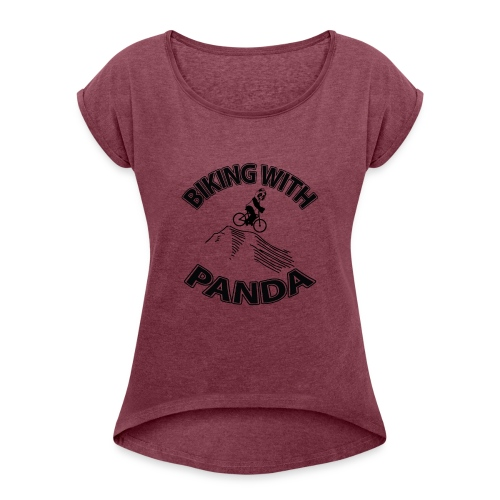Biking with Panda - Women's Roll Cuff T-Shirt
