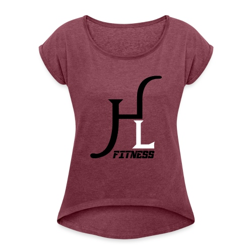 HIIT Life Fitness logo white - Women's Roll Cuff T-Shirt