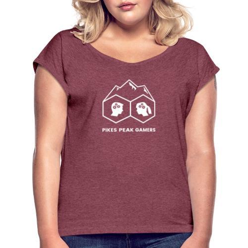 Pikes Peak Gamers Logo (Transparent White) - Women's Roll Cuff T-Shirt
