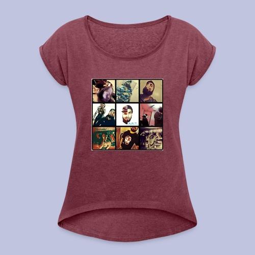 Throwback ART Mixtape Cover - Women's Roll Cuff T-Shirt