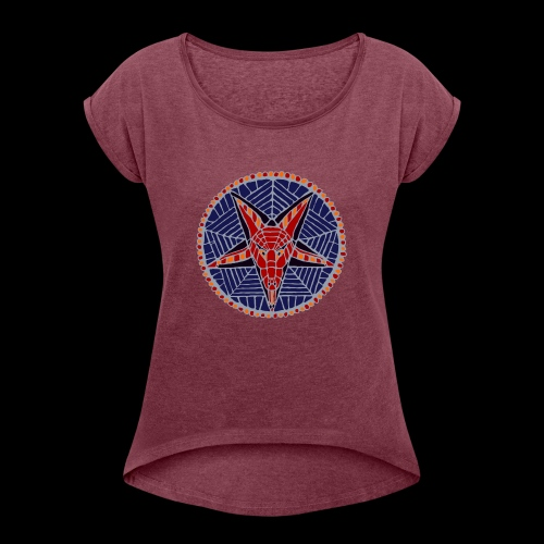 Corpsewood Stained-Glass Baphomet - Women's Roll Cuff T-Shirt