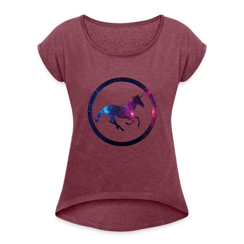 Believe Unicorn Universe 1 - Women's Roll Cuff T-Shirt
