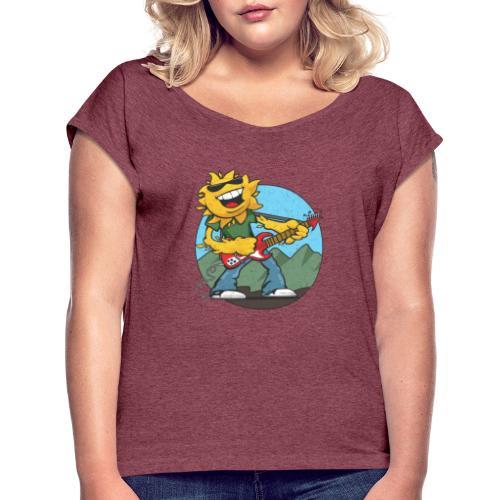 sun guitar rocker v1 t - Women's Roll Cuff T-Shirt