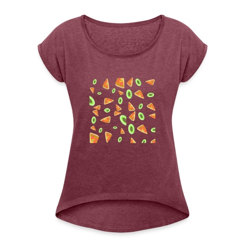 The PizzaCados - Women's Roll Cuff T-Shirt